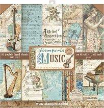 Хартии за скрапбукинг - Музика - Комплект от 10 броя