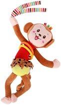 Плюшена дрънкалка - Маймунка - Бебешка играчка с вибрация за количка или легло - играчка