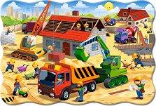 Строеж на къщи - Пъзел в нестандартна форма с едри елементи -