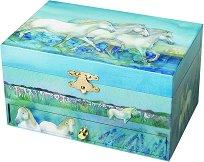 Музикална кутия за бижута - Бели коне - Детски аксесоар с фосфоресциращи ефекти -