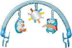 Арка с висящи играчки - Чарли и Хана - За детска количка или кошче за кола -