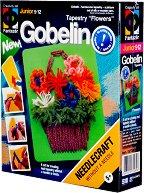 """Направи сам гоблен без игла - Кошница с цветя - Творчески комплект от серията """"Gobelin"""" - творчески комплект"""