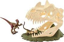"""Череп на динозавър и велосираптор - Комплект фигури от серията """"Праисторически животни"""" -"""