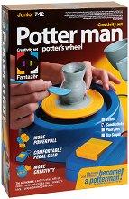 """Създай сам с грънчарско колело - Свещник - Творчески комплект с глина от серията """"Potter man"""" - играчка"""
