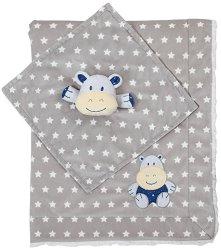 Бебешко одеяло с играчка за гушкане - Хипопотамче - Размери 75 x 100 cm -