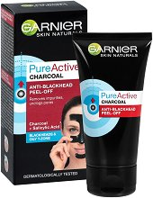 """Garnier Pure Active Charcoal Anti-Blackhead Peel-Off - Черна отлепяща се маска за лице с активен въглен от серията """"Pure Active"""" - ластик"""