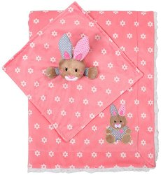Бебешко одеяло с играчка за гушкане - Зайче - Размери 75 x 100 cm -