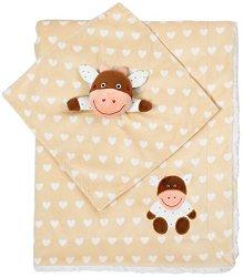 Бебешко одеяло с играчка за гушкане - Кравичка - Размери 75 x 100 cm -
