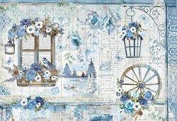 Декупажна хартия - Сини цветя - Размери 50 x 35 cm