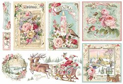 Декупажна хартия - Розова Коледа - Размери 50 x 35 cm