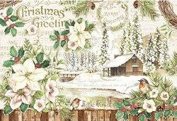 Декупажна хартия - Коледа - Размери 50 x 35 cm