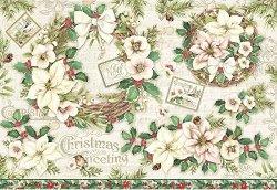 Декупажна хартия - Коледни цветя - Размери 50 x 35 cm