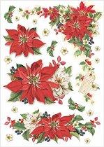 Декупажна хартия - Коледна звезда - Формат А4