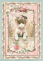 Декупажна хартия - Котка с шапка - Формат А4