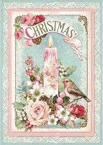 Декупажна хартия - Коледна свещ - Формат А4