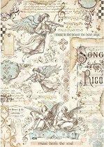 Декупажна хартия - Ангели и ноти - Формат А4