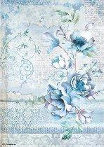 Декупажна хартия - Сини цветя - Формат А4