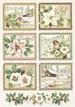 Декупажна хартия - Коледни марки - Формат А4