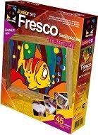 """Създай сам картина с цветен пясък - Малка рибка - Творчески комплект от серията """"Fresco Frame"""" - творчески комплект"""