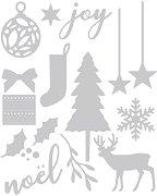 Щанци за машина за изрязване и релеф - Коледа - Комплект от 16 броя с размери от 1.6 до 7.9 cm