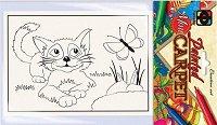 """Оцвети сам декоративно килимче - Коте - Творчески комплект с флумастери от серията """"Carpets Painting"""" -"""