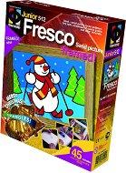 """Създай сам картина с цветен пясък - Снежен човек - Творчески комплект от серията """"Fresco Frame"""" -"""