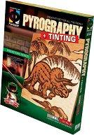 """Създай дървена гравюра - Динозаър от праисторическия период - Творчески комплект за пирографиране от серията """"Pyrography"""" - творчески комплект"""