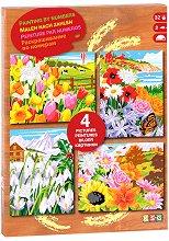 Оцветявай по номера - Четири сезона - Творчески комплект с акрилни бои - творчески комплект