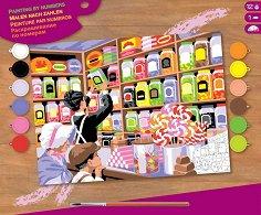 Оцветявай по номера - Магазин за бонбони - Творчески комплект с акрилни бои - фигура