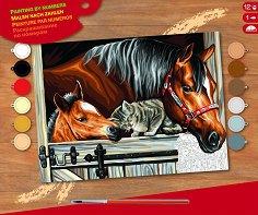 Оцветявай по номера - Приятели - Творчески комплект с акрилни бои - продукт