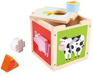 Животните от фермата - Дървена играчка с фигури за сортиране -