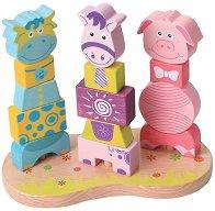 Низанка - Животните от фермата - Дървена образователна играчка - играчка