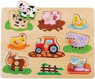 Ферма - Детски дървен пъзел с дръжки -