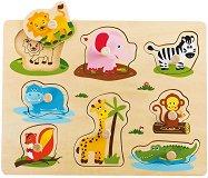 Животни - Детски дървен пъзел с дръжки -