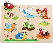 Насекоми - Детски дървен пъзел с дръжки -