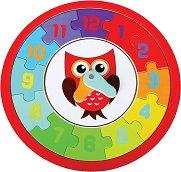 Часовник с бухал - Детски дървен пъзел -