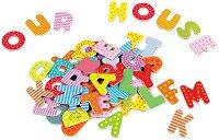 Магнитни английски букви - Детски образователен комплект от дърво -