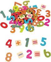Магнитни цифри и знаци - Детски образователен комплект от дърво - чанта