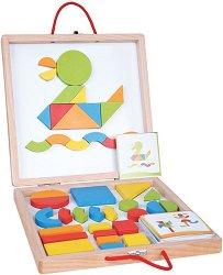 Куфарче с магнитна дъска и форми - Дървен комплект за игра -