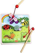 Лов на буболечки - Детска дървена магнитна игра -