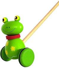 Жаба - Дървена играчка за бутане - играчка