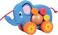 Слончето Сиси - Дървена играчка за дърпане - играчка