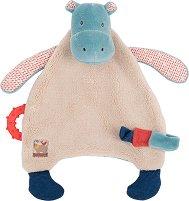 """Кърпа за игра с дъвкалка - Хипопотам - Играчка за гушкане от серията """"Les Papoum"""" -"""