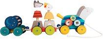 """Дървено влакче за дърпане - Приятелство - Детска играчка с форми за сортиране от серията """"Les Zig et Zag"""" -"""