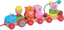 Низанка - Трактор - Дървена играчка за дърпане - играчка