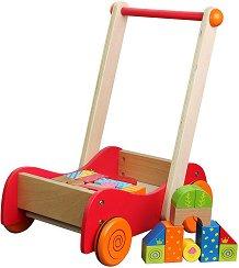 Дървена количка с пъзел - Детска играчка за бутане - играчка