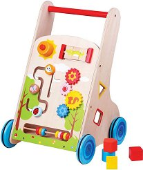 Количка с активни занимания - Дървена играчка за бутане -