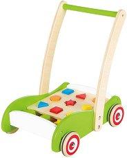 Дървена количка със сортер - Детска играчка за бутане -