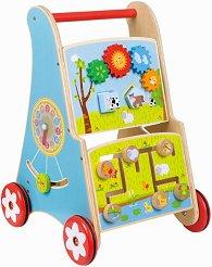 Количка с активни занимания и часовник - Дървена играчка за бутане -