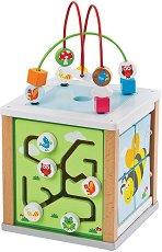 Малък дидактически куб - Дървена образователна играчка -